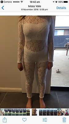 Size 10 White Lace Unitard- Only Worn Once!