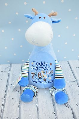 Personalised  Teddy Bear , New Baby Gift, Cubbies, giraffe, Christening