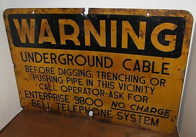 VINTAGE Advertising-BELL TELEPHONE WARNING UNDERGROUND CABLE SIGN-Phone UTILITY