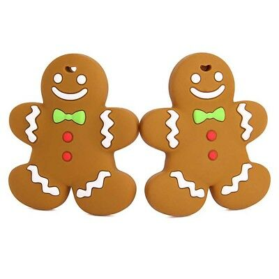 Best Gingerbread Man Silicone Teether Baby Teething Toy Jewellery Food Grade