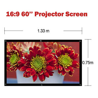 Portable 60'' Projector Screen 16:9 3D HD Projection Home Theatre Movie Outdoor