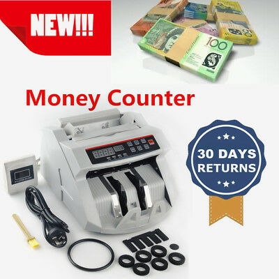 Money Cash Counting Bill Counter Bank Counterfeit Detector UV & MG Machine 4LED