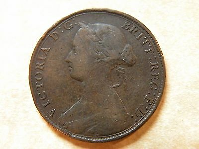 1862 Half Penny Great Britain VF Copper Coin Young Head Victoria 1/2 Cent Lot