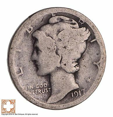 ALMOST 100 Years OLD 1917 Mercury Liberty 90% Silver United States Dime *904