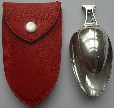 c1910 STERLING SILVER Antique REED & BARTON FOLDING MEDICINE SPOON in LEATHER