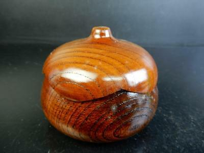 H370: Japanese Wooden Eggplant-shaped TEA CADDY Chaire Container