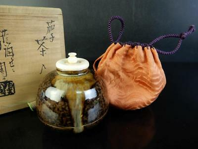 H1104: Japanese Zeze-ware Seto glaze TEA CADDY High class lid, Kageroen made