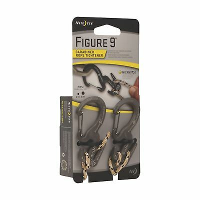 Nite Ize Figure 9 Carabiner Small Rope Tightener 2-Pack Black Biners with Rope