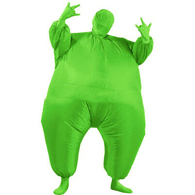 Green Inflatable Fat Chub Suit Fancy Dress Party Costume Adult Jumpsuit Game