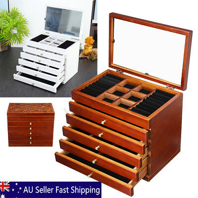 LARGE Wooden Jewellery Box Organizer 6 Layers Storage Display Ring Necklace Case