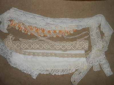 ANTIQUE LACE LOT~ALL SHOWN~Hand Crochet~EDGING~REpurpose DOLL Clothing CRAFTS++