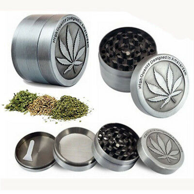 Tobacco Herb Spice Grinder 4 Piece Herbal Alloy Smoke Metal Chromium Crusher USA