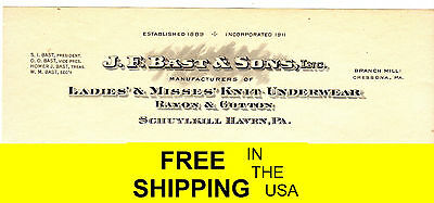 1889 Ladies Misses Knit Underwear Cotton Rayon Schuylkill Haven Pa JF Bast &Sons