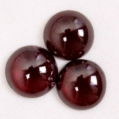 7.70 Ct.Top Quality Natural Red Garnet 3 Pcs Lot Round Cabcohon Looose Gemstones