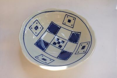 Asian Oriental Bowl Blue White Checker Ceramic Porcelain Decor Display