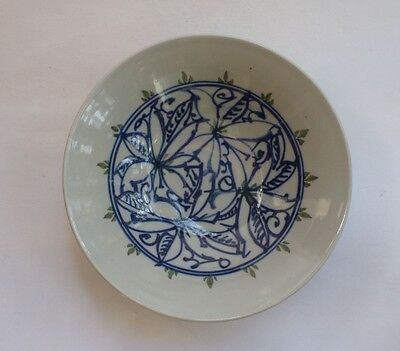 Asian Oriental Rice Soup Bowl Blue Light Grey Ceramic Porcelain Decor Display