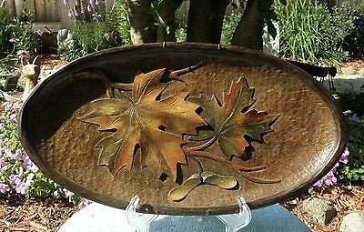 Vintage Black Forest Hand Carved Wood Wall Plaque Platter Maple Leafs Seeds