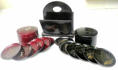 Lacquer ware Lot - Two sets Coasters in container + Serviettes Napkins Holder