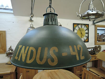 Large Industrial Green Ceiling Light Shades With Electrical Fittings Code 6352