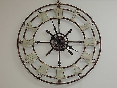 Large  Vintage Looking Antique Hallway Wall Clock 80Cm In Diameter Codehway