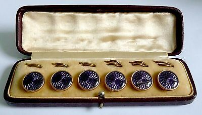 A Vintage Set Of Purple Enamel Buttons In Red Leather Vintage Box