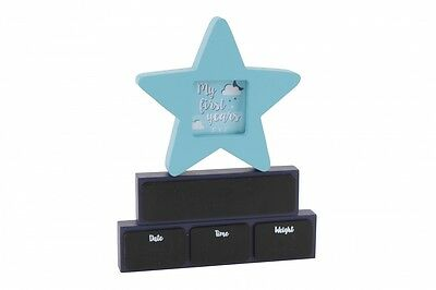 'About Me' Wooden Blocks Photo Frame Nursery New Baby Gift Star Chalkboard