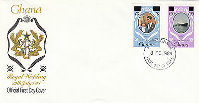 (03631) Ghana FDC Princess Diana Wedding OVERPRINT IMPERFORATE 18 Feb 1984