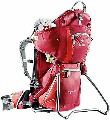 NEW Deuter Kid Comfort 2 - Child Carrier Backpack for Hiking, Cranberry/Fire