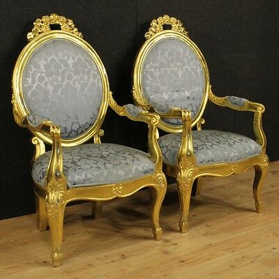 Couple Armchairs Oval Beads Italian Living Room Set Golden Italy '900 Armchairs