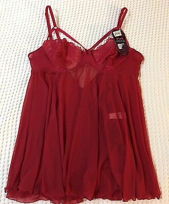 Lace Nightie, Maidenform, NWT, Red, Size 36C, With Panties