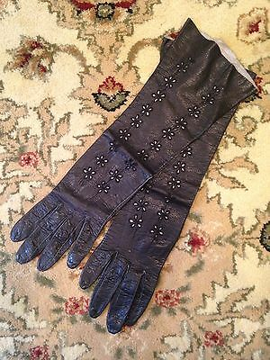 Vintage Black Leather Gloves Cut Out Detailing 3/4 Length Excellent Condition