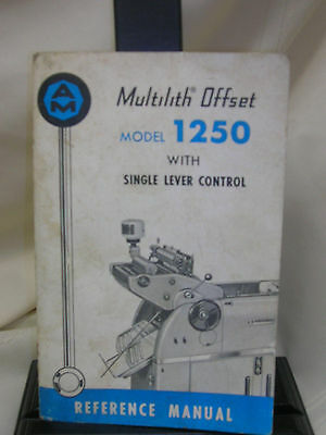 Vintage Printing Press Multilith Offset Model 1250 Single Lever Control Manual