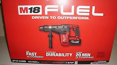 "Factory Sealed New Milwaukee M18 FUEL 1-9/16"" SDS Max Hammer Drill Kit 2717-21HD"