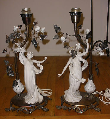 Pair of beautiful vintage Italian metal bisque Art Nouveau Woman figures lamps