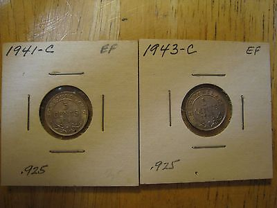Lot of 2 coins, 1941C & 1943C Newfoundland (Canada) Silver Five Cents, EF