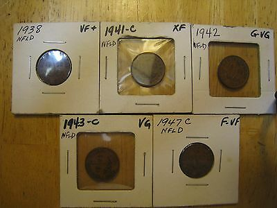 Lot of 5 each NEWFOUNDLAND ONE CENT coins, Various dates, See details