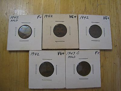 Lot of 5 each NEWFOUNDLAND ONE CENT coins, 1942, 1943C See details