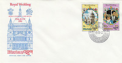 (03654) CLEARANCE Bhutan FDC Princess Diana Wedding IMPERFORATE 10 Sept 1981