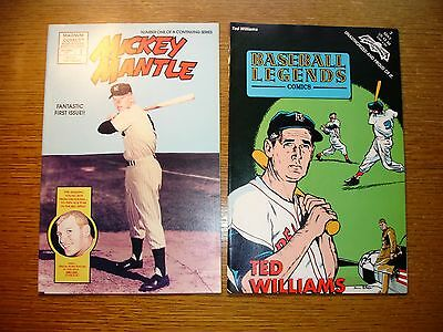 2 Vtg Baseball Comic Books Mickey Mantle / Ted Williams 1991-92 Yankees Sox Exc.