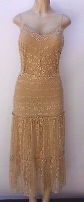 Vintage Anne Klein Boho Tiered Lace Skirt and Camisole Top Tan Size M 2 piece