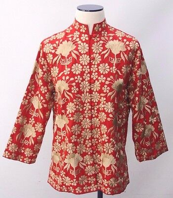 Vintage Asian Boho Hippie Ethnic Floral Embroidered Button Blouse Red Gold Sz 12