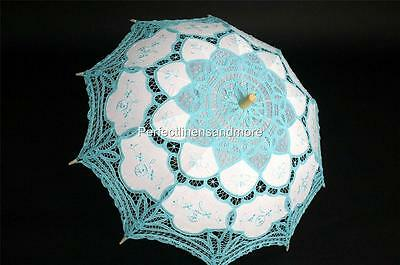 Battenburg Lace Turquoise Parasol with Turquoise Embroidery