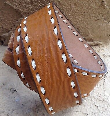 """Western Leather Laced Tan Leather 2 Snap Belt Strap 1.5"""" Wide Embossed Grain 32"""