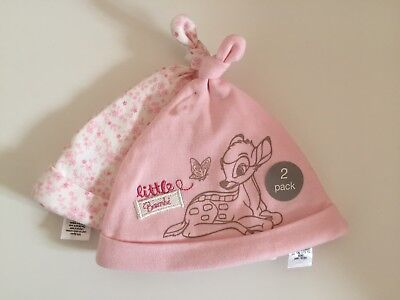 New Disney Bambi Baby Girls Hat - 2 Pack. BNWT. Gorgeous Gift!