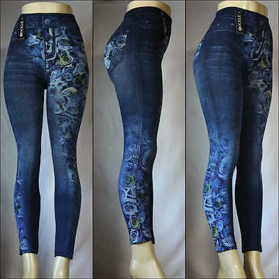 Fashion Jeggings Jeans Look Printed Leggings Women's Pants Stretchy Skinny #2