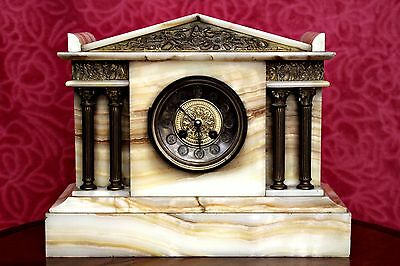 Antique Rare French 'AD Mougin' 8-Day White Marble Mantel Clock with Chimes