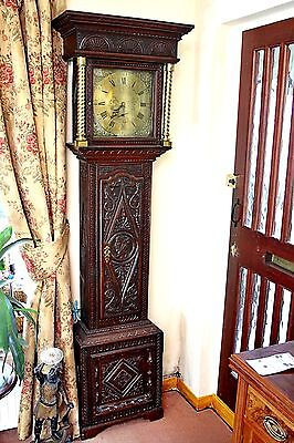 Antique 18th Century 'Mosley Peniston' Carved Oak Grandfather Clock 208 cm