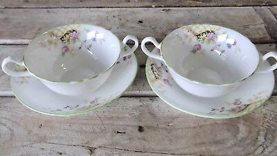 Pair Aynsley Double Handled Bone China Soup Cups