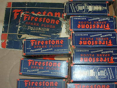 10 Vintage Firestone Polonium Spark Plugs in Boxes New Old Stock