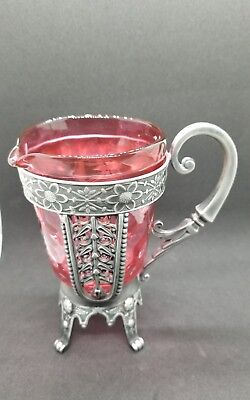 Simpson Hall Miller silverplate CREAMER with cranberry coin dot glass holder-HTF